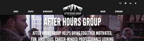screen shot of the After Hours Group homepage