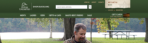screen shot of the Ducks Unlimited homepage