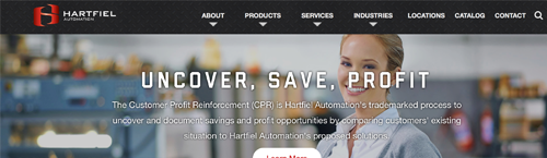 screen shot of the Hartfiel Automation homepage