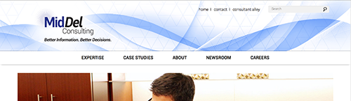 screen shot of the Middel homepage