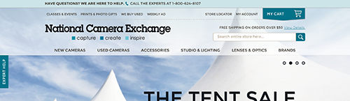 screen shot of the National Camera Exchange homepage