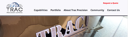 screen shot of the Trac Precision homepage
